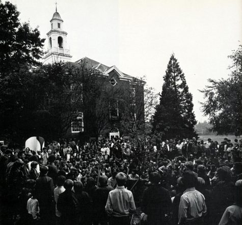 A look into the past: a crowd celebrates the merge of Lakeside (all-boys) with St. Nicholas school (all girls) in 1971 (Lakeside Archives)