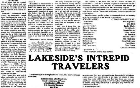 A look into the past: The October issue of the Tatler in 1973 (Lakeside Archives)