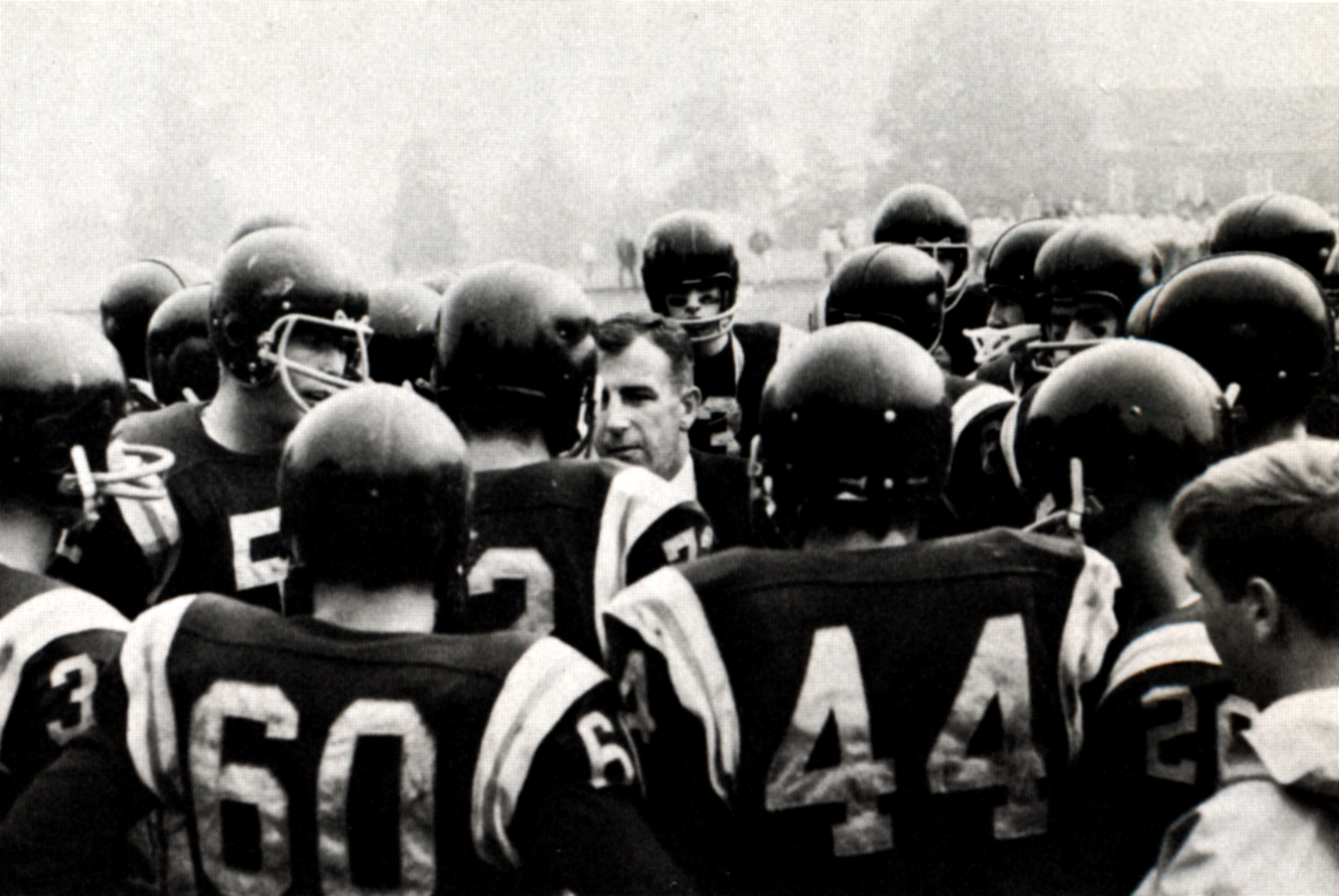 A look into the past in 1966 Lakeside football players listen to a talk given by their coach before a game(Lakeside Archive)