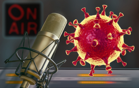 Coronavirus speaking into a microphone(Bull)