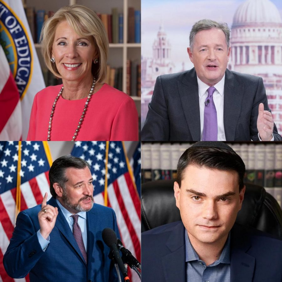 Lakeside's new faculty additions_ Betsy Devos, Piers Morgan, Ted Cruz, and Ben Shapiro! (Wikipedia, GQ Magazine, The New York Times, Vanity Fair)