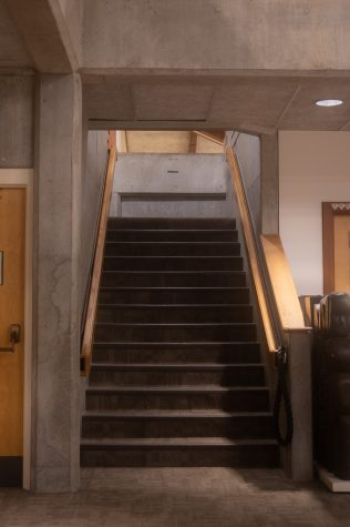 The stairway to the librarys second floor. Not a step closer than this, underclassmen.